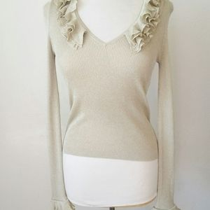 Gucci Ruffle Ribbed Sweater Gold Flecked